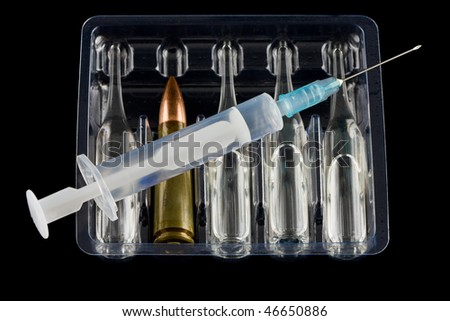 Cartridge and drug as threat of drug addiction concept