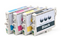 Cartridges for colour inkjet printer isolated on white
