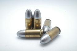 cartridges of  pistols ammo isolated on white background