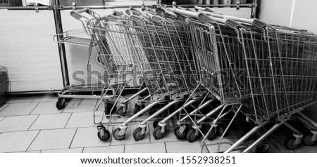 Carts in the supermarket. Carts are grocery. #1552938251