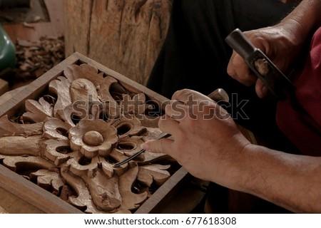 Carve Wood Close up