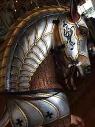 Carved and Painted Wooden Carousel Horse in Armor