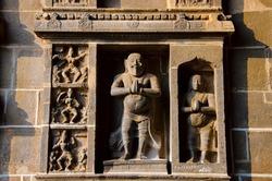 Carved dancing idols on the Gopuram of Nataraja Temple. Hindu temple dedicated to Nataraja Shiva as the lord of dance. Temple wall carvings display all the 108 karanas from the Natya Shastra.