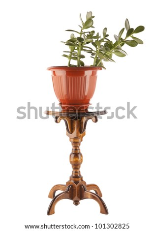 carved from wood support for flowers and pots (holder) made of wooden