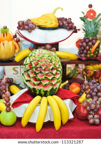 Carved Fruit Arrangement .fresh various fruits - stock photo