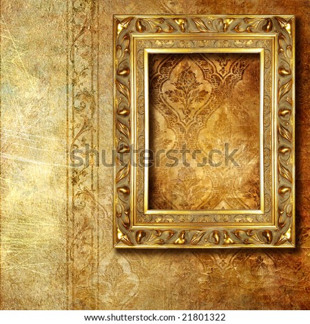carved gilded frame over old wallpaper - stock photo
