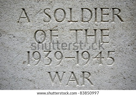 Carved Gravestone Inscription from World War Grave.