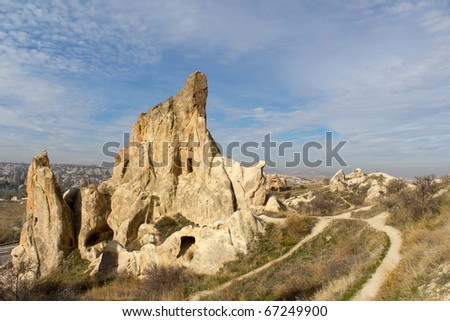 Carved Homes in Unique Rock Formations Near Goreme in the Region of Cappadocia in Central Turkey