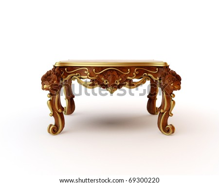 Carved oak table of 3d rendering