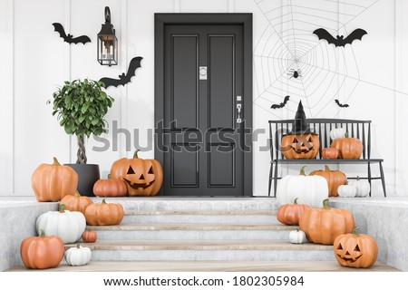 Carved pumpkins, bats and spiders on stairs and bench near modern house with black front door, tree in pot and white walls. Concept of halloween. 3d rendering