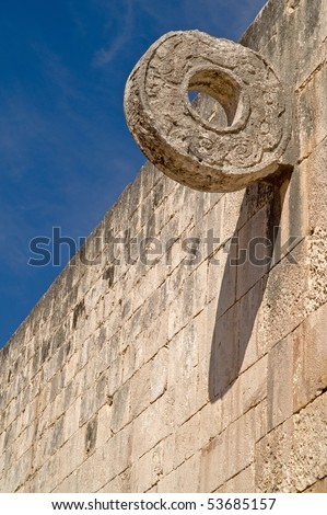 Carved stone hoop at the Great Ball Court  Maya Site Chichen Itza, Yucatan, Mexico