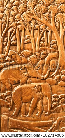 carved Thai Elephant on the wood wall