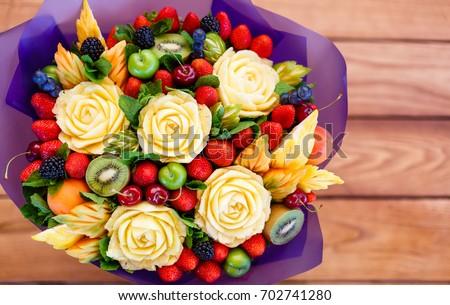Carved vfruit bouquet, original creative food present, dessert