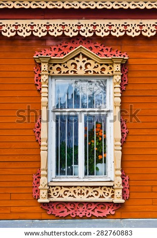 Carved window of old wooden house in historical town Kolomna - Russia