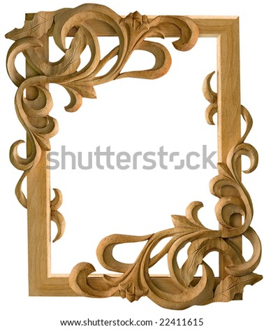 BAROQUE PICTURE FRAME CARVED WOOD w Mirror antique gold: Amazon.co