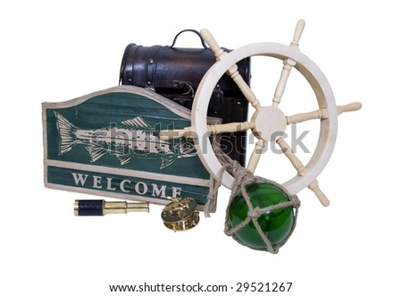 Carved wooden nautical sign with a large fish and the word welcome, ship steering wheel, glass float, old foot locker and brass instruments - Path included