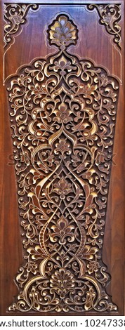 Carved wooden  with beautiful ornaments. #1024733875