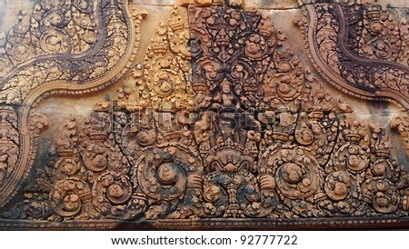 Carving details at Banteay Srei Angkor temple, near Siem Reap, Cambodia