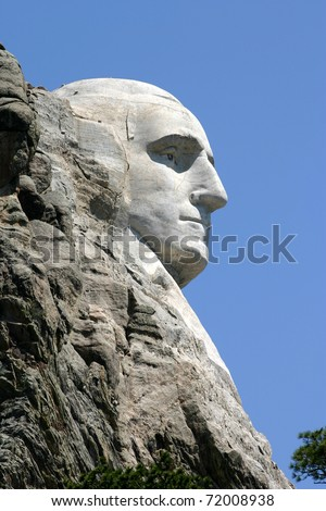 Carving of George Washington's face at Mount Rushmore National Park