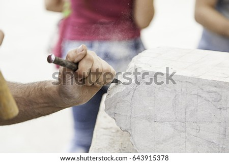 carving stone  craftsman...
