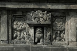 Carvings and sculptures on the walls of Prambanan Temple. The story of ancient Javanese and Hindu mythology. Religious archeology in Asia