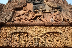 Carvings on the gate at Banteay Srei temple, Cambodia