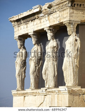 Caryatids, erechteion temple  Acropolis, Athens Greece