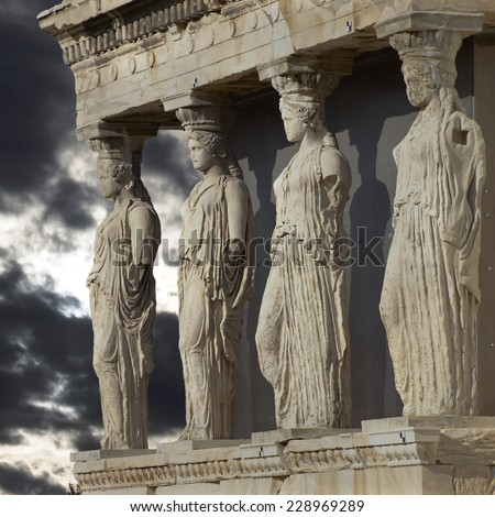 caryatids  erechtheum temple on ...