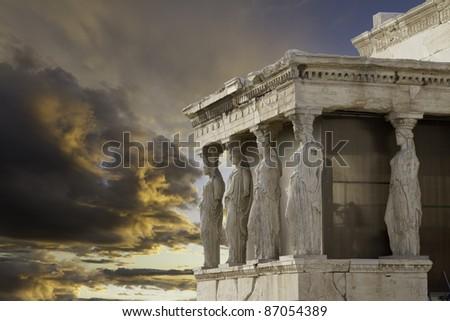 Caryatids in Erechtheum, Acropolis,Athens,Gr eece - stock photo