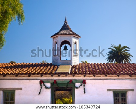 Casa de Estudillo Christmas Decorations Old San Diego Town Roof.  Historic Adobe House and Cupola built in 1827.