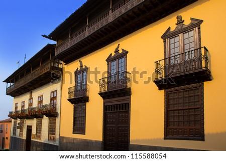 Casa de los Balcones balcony house in La Orotava Tenerife at Canary Islands