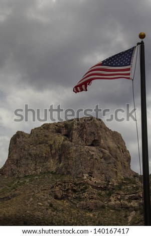 Casa Grande Rock in Big Bend National park with American Flag