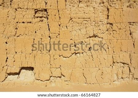 Casa Grande Ruins National Monument cracked wall - stock photo