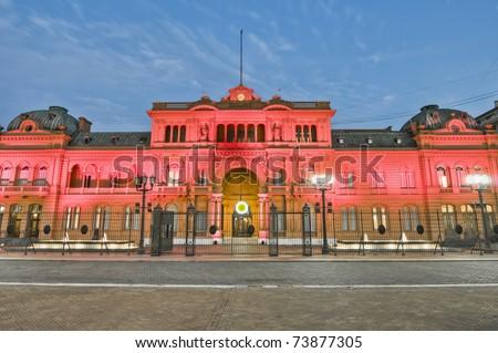 Casa Rosada building facade located at Mayo square. - stock photo