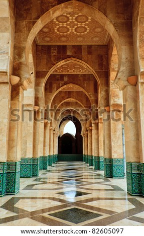 Casablanca, Morocco:  Intricate exterior marble and mosaic stone archway outside of Hassan II Mosque in Casablanca, Morocco.