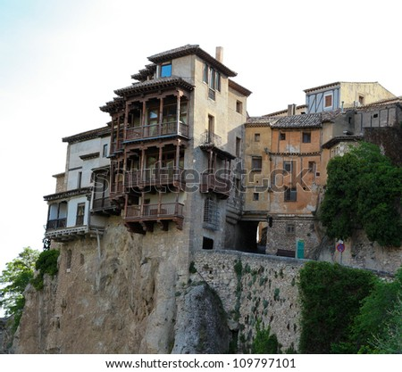 Casas colgadas (hanging houses) in Cuenca in Castille La Mancha, Spain. - stock photo