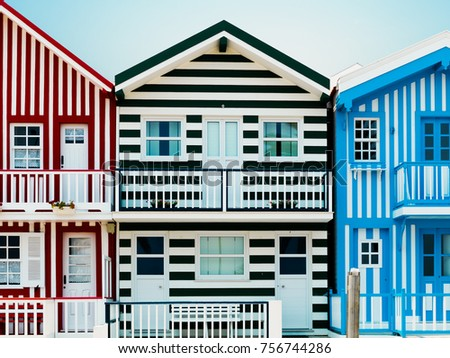 Casas coloridas, Costa Nova do Prado, Aveiro, Norte Region or Northern Portugal, Iberian Peninsula, Portugal