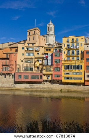 casas Onyar in old town of Girona, Spain - stock photo