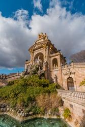 Cascade Fountain in the Park Citadel in Barcelona, Spain. The Park is also called Parc de la Ciutadella. Barcelona, Catalonia, Spain