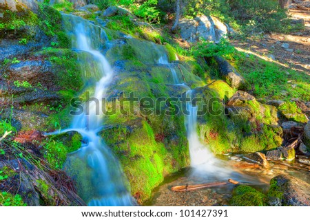 Cascade on Panorama Trail in Yosemite National Park. - stock photo