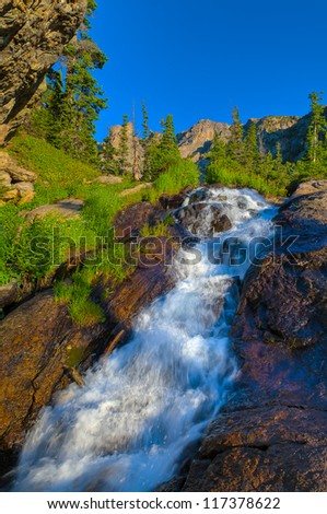 Cascade on Tyndall Creek along Emerald Lake Trail - Rocky Mountains National Park, Colorado