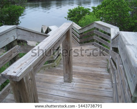 Cascading Boardwalk Wood steps to beach sea nature  #1443738791