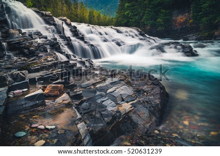 Cascading river waterfall. #520631239
