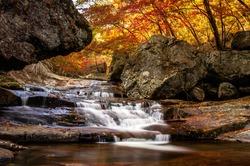 Cascading waterfall in Jiri Mountain in South Korea during the autumn season.