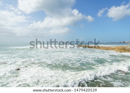 Cascais, Portugal - April 28, 2019: Cascais Beach and Seascapes with waves and traditional Buildings