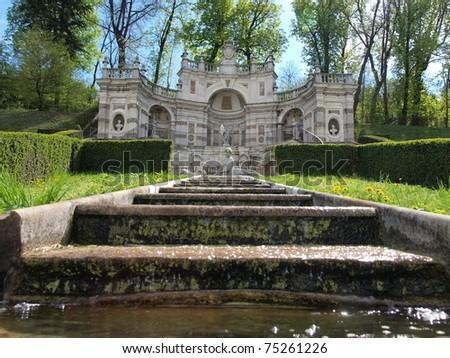 Cascatella della Naiade (Mermaid fountain) at Villa Della Regina, Turin, Italy