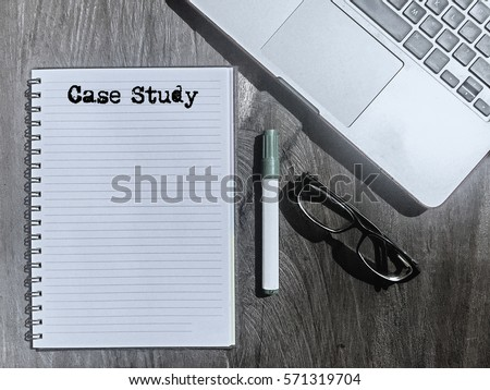 Case Study, Typed Words On a handbook with note book, marker pen and notebook. Vintage and classic background mood with noise.