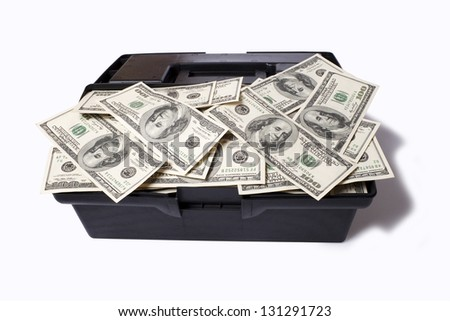 Case with dollars isolated on a white background