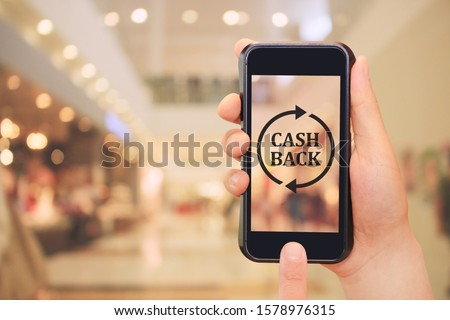 cash back cashless payment by application smartphone #1578976315