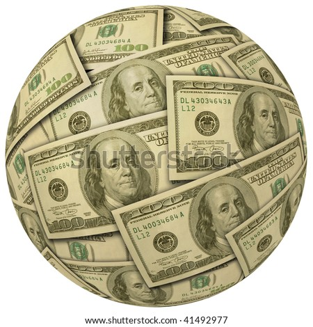 Cash Ball or Sphere of 100 dollar banknotes
